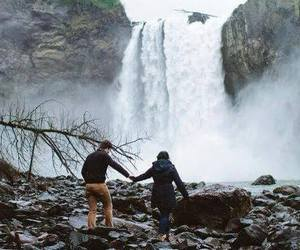 couple, waterfall, and travel image
