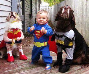 dog, baby, and superman image