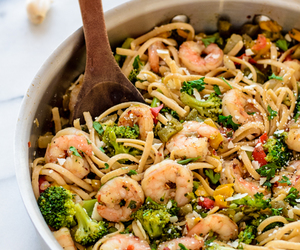 food, shrimp, and pasta image
