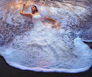 dress, sea, and wedding image