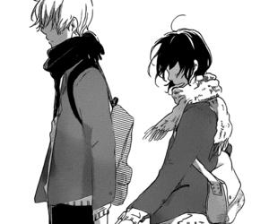 monochrome, black and white, and manga image