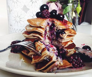 food, sweet, and pancakes image