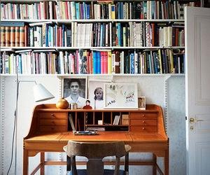 desk, book, and interior image
