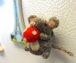 Needle Felted Mouse Magnet with Mushroom by WildWhimsyWoolies