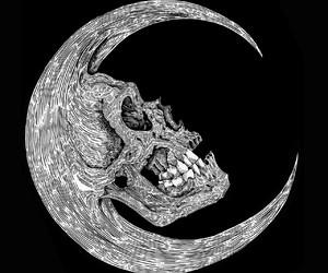 moon, skull, and dark image