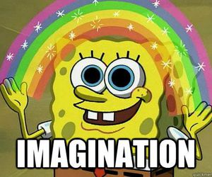 spongebob, rainbow, and imagination image