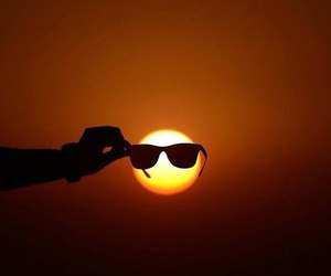 cool, glasses, and sunset image