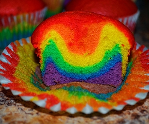 rainbow, colors, and cupcake image