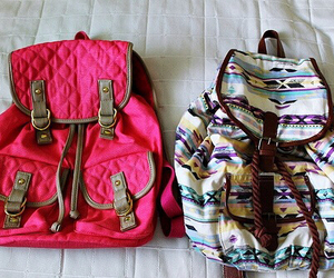 bag, pink, and backpack image
