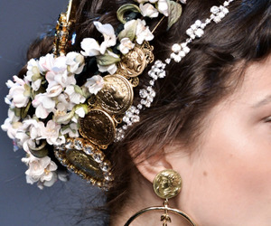 flowers, hair, and gold image