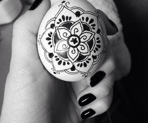 black and white, easter egg, and mandala image