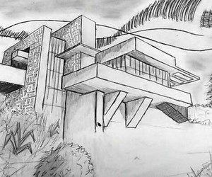 architecture, black and white, and drawing image