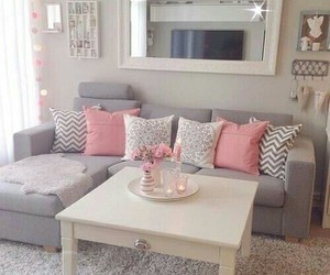 living room, pink, and white image