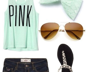 outfit, pink, and sunglasses image