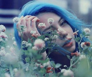 blue, girl, and hair image