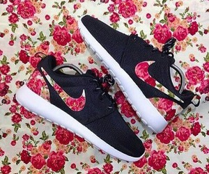 nike, flowers, and shoes image