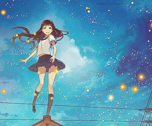 anime, girl, and stars image