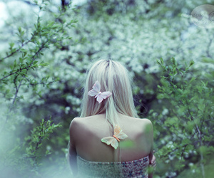 girl, butterfly, and blonde image