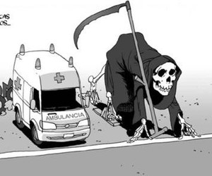 death, funny, and ambulance image