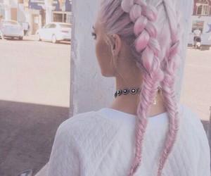 braid, hair, and pink image