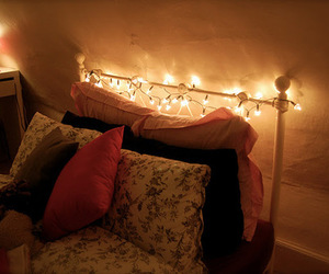 fairy lights, light, and bed image