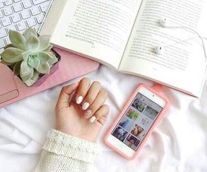 book, nails, and pink image