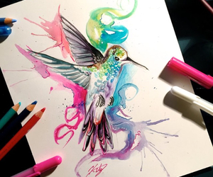 art, bird, and colors image