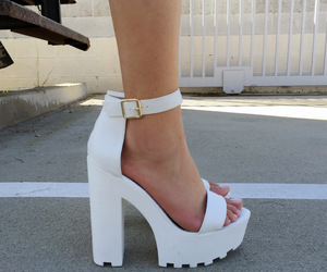 chunky heels, high heels, and white image