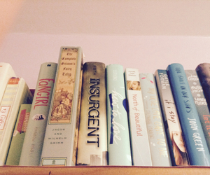 books, bookshelf, and bookworm image