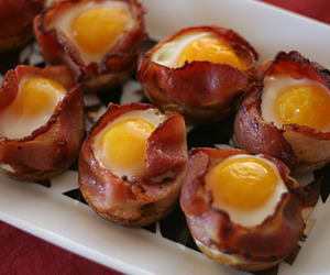 food, bacon, and egg image