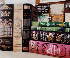 books, alice in wonderland, and charles dickens image