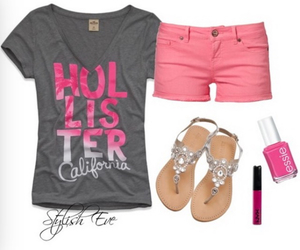 outfit, pink, and hollister image