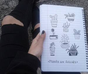 grunge, plants, and draw image