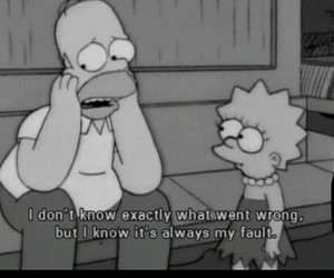 black & white, homer, and simpsons image