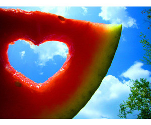 heart, watermelon, and fruit image