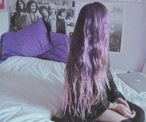 hair, grunge, and purple image
