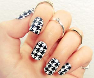 nails, nail art, and black and white image