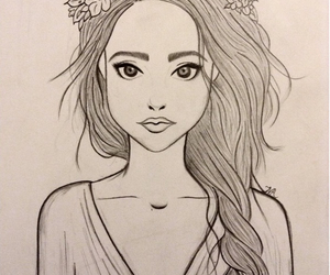 doodle, flower crown, and tumblr girl image