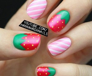 nails, strawberry, and stripes image