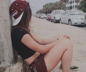 body, girl, and skateboard image