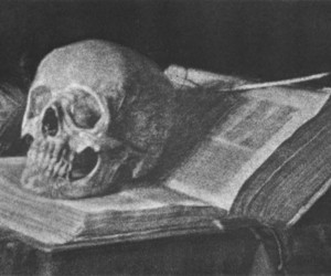 black and white, book, and skull image