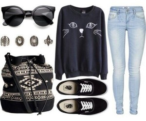 outfit, accessories, and black image