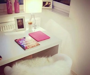 room, white, and pink image