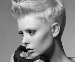 black and white, gir, and short hair image