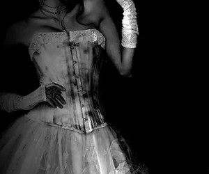 dark, dress, and black and white image