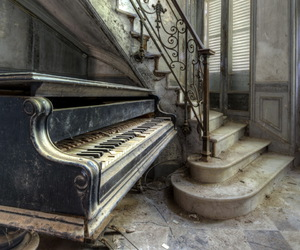 piano, old, and stairs image