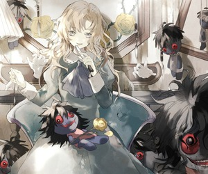 anime girl, knife, and puppets image