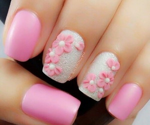 flowers and pink nails image