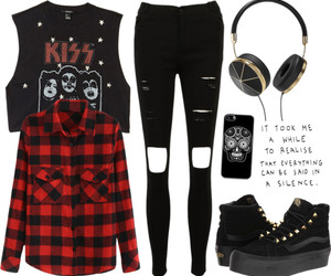 black, edgy, and outfit image
