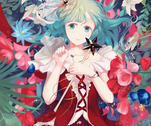 anime girl, flowers, and grass image